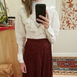 Vintage Prairie Ruffle Lace Puff Sleeve Blouse S/M